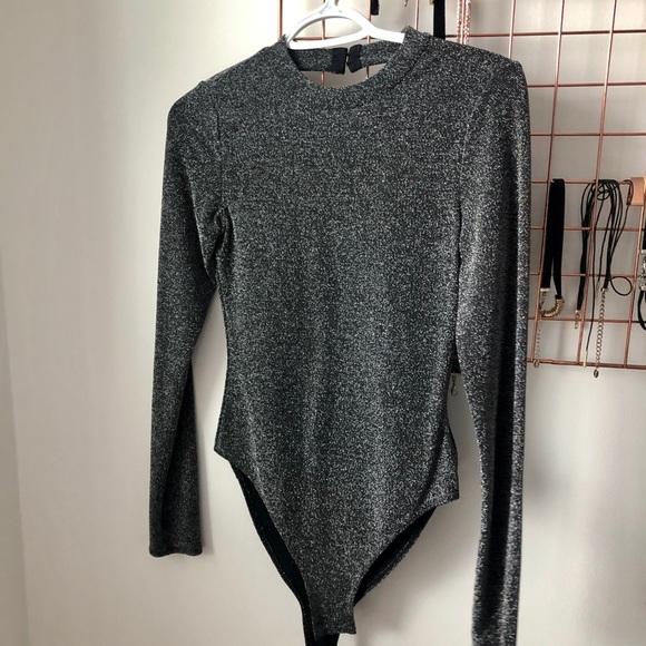 Shimmery Open Back Bodysuit